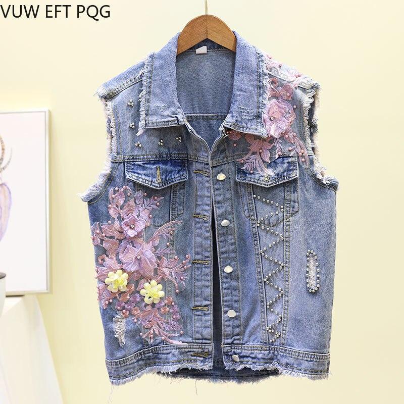 Women Cartoon Donald Duck Embroidery Sequins Vest Waistcoat Spring Summer Jeans