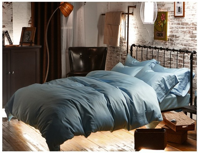 Superior Luxury Light Blue Egyptian Cotton Bedding Sets Sheets Doona Queen Duvet  Cover King Size Bed In
