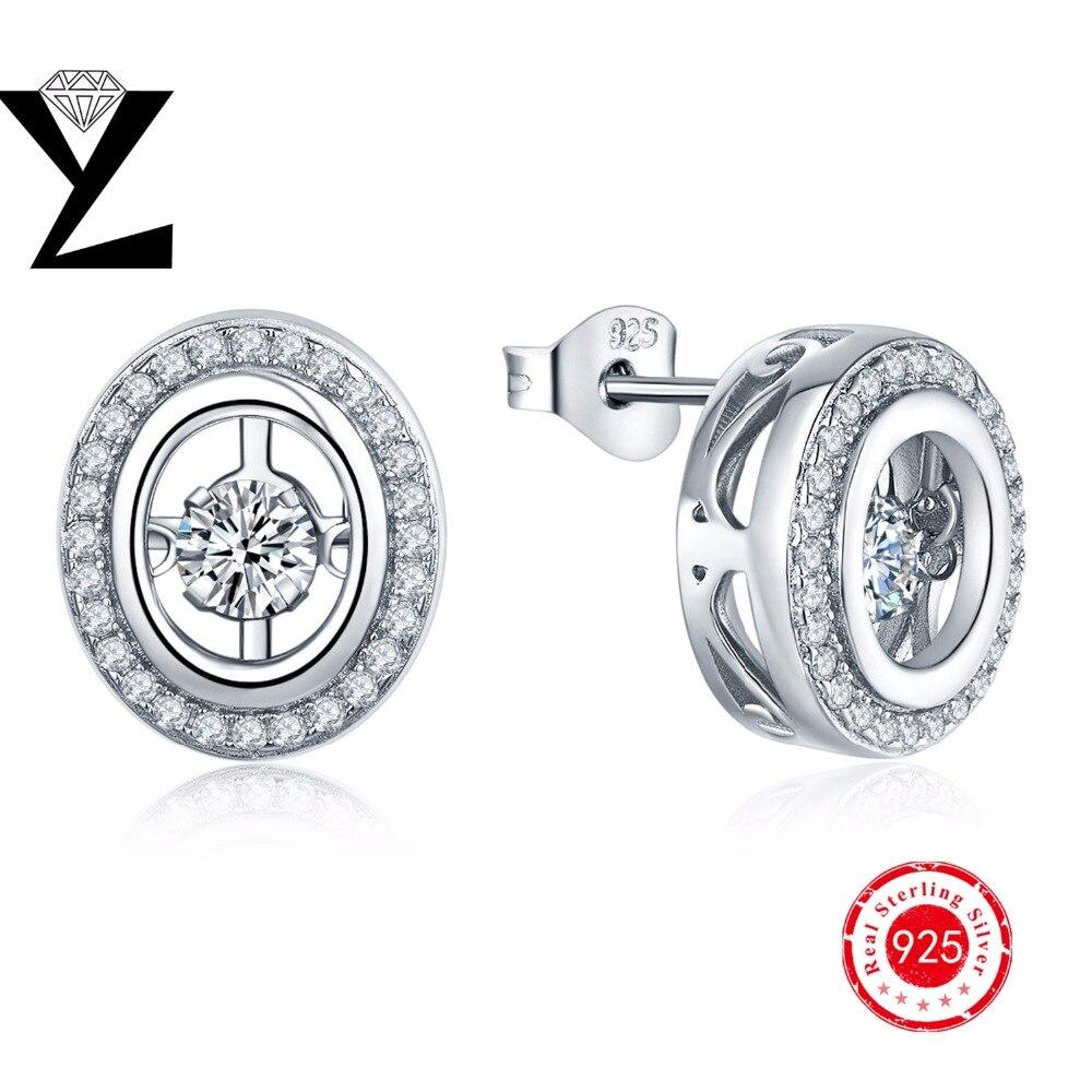 Real 925 Sterling Silver Stud Earrings For Woman Stud Earrings Silver 925  Zirconia Dancing Cz Diamond Stud Earrings Set