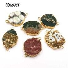 WT C250 nouveautés! connecteurs de bijoux de mode pendentif de forme aléatoire connecteur en pierre naturelle unique pour la fabrication de collier