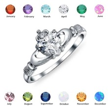 Huitan Love Heart Ring with Birthstone Silver Plated Irish Claddagh We