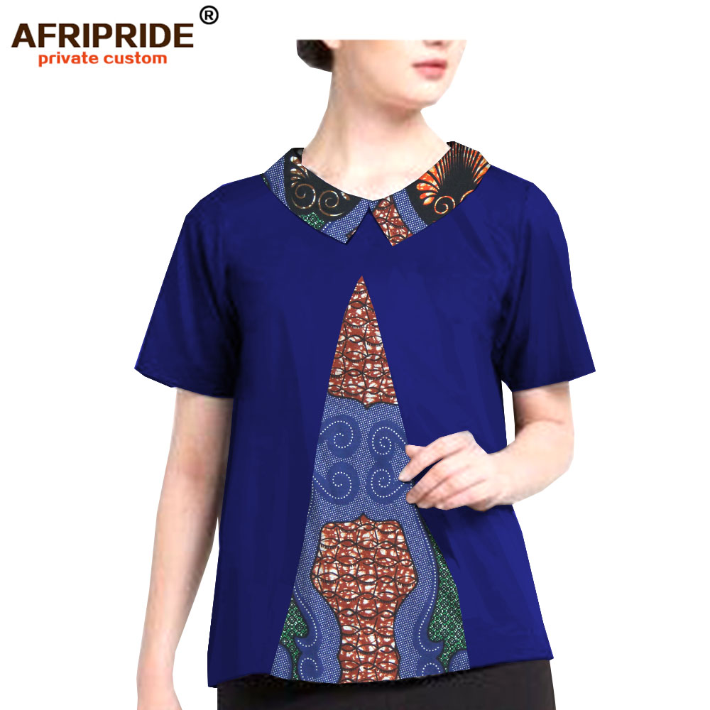 2018 African Summer Clothes Casual Shirt For Women AFRIPRIDE O-Neck Pure Cotton Plus Size Dashiki Shirt For Femmel A1922005