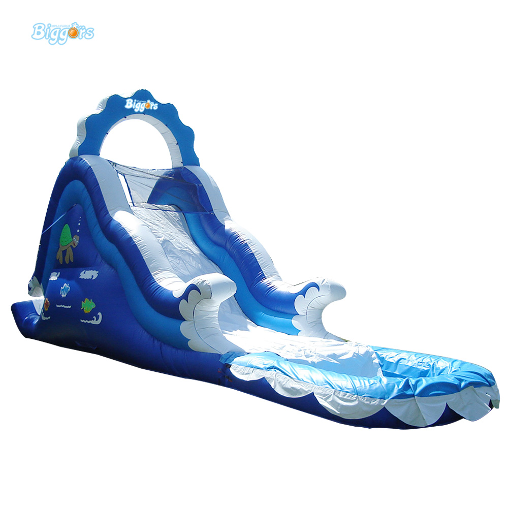 Inflatable Slide Commercial: Commercial Inflatable Blue Water Slide With Pool And Arch