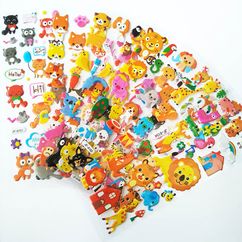 Cute Cartoon Animal Stickers 8 Different Children Stickers DIY Toys 3D Puffy Bubble Stickers Gift For Kids Waterproof Pegatinas