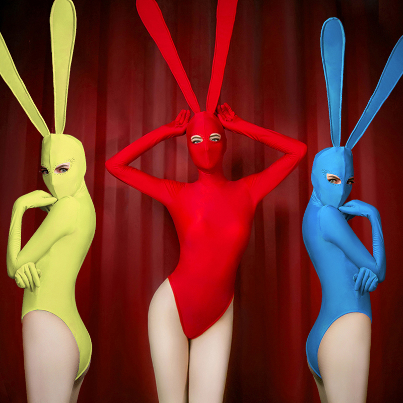 Independent Sexy Fancy Adult Women Ds Dj Singer Dance Halloween Red Rabbit Bunny Bodysuit Nightclub Stage Show Cosplay Costumes Uniform Strengthening Waist And Sinews