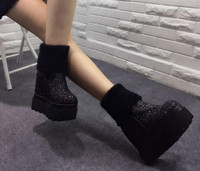 2017 Winter Korean Version Of The Tube Boots Female 12cm Increased Snow Boots Slope Sequins With