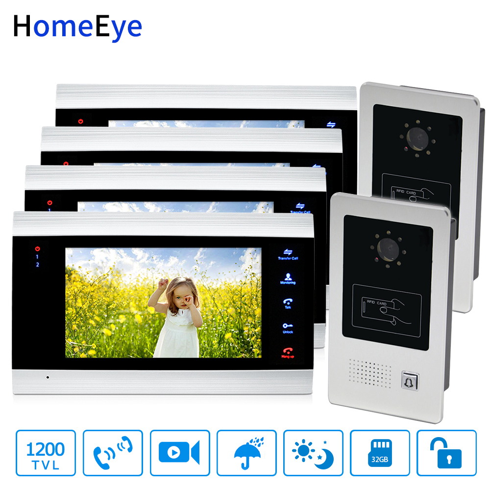HomeEye 7'' Video Door Phone Video Door Bell Home Access Control System 2 4 1200TVL Rainproof RFID Voice Message Night Vision