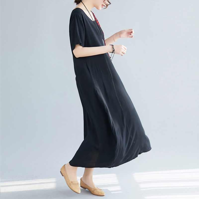 Черное хлопковое льняное винтажное платье в полоску большого размера женское повседневное Свободное длинное летнее платье Элегантная одежда 2019 женские платья Сарафан