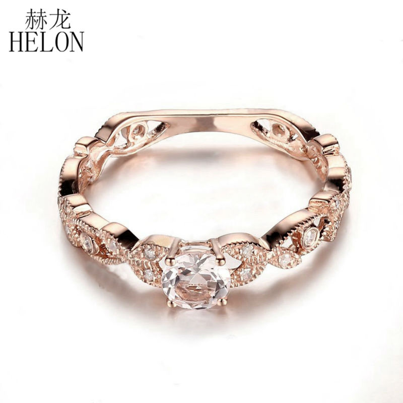 HELON Flawless Round 4.5mm Natural Morganite Ring Real 14K Rose Gold 0.2ct Diamond Women Engagement Wedding Vintage Jewelry RingHELON Flawless Round 4.5mm Natural Morganite Ring Real 14K Rose Gold 0.2ct Diamond Women Engagement Wedding Vintage Jewelry Ring