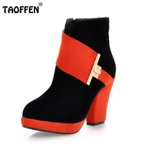 TAOFFEN Free shipping ankle half short boots women snow fashion winter warm boot footwear high heel shoes P10762 EUR size 33-43