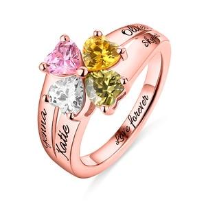 Оптовая продажа, украшения для мамы, кольцо с камнем рождения и надписью «Love and Lucky 4», розовое золото, кольца для дня рождения, подарок на Рожд...