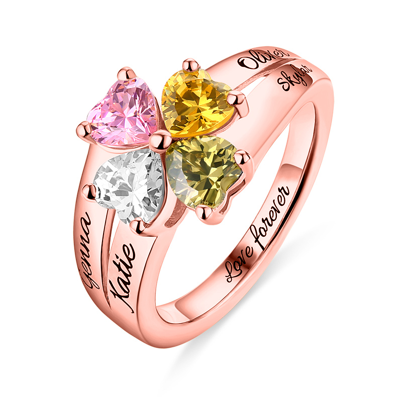 Wholesale MOM Jewelry Mother's Love and Lucky 4 Birthstones Ring In Rose Gold Color Name&Birthstone Rings For Her Christmas Gift szjinao custom processing exquisite luxurious rose gold color emerald rings for women wholesale christmas gift wholesale