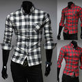 New Brand 2 Color Classic Plaid Mens Shirts Slim Fit Long-sleeve Casual Social Camisas Masculinas M-XXL