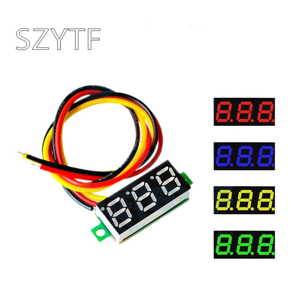 0.28 inch ultra small digital DC voltage meter digital display adjustable three-wire <font><b>DC0</b></font>-<font><b>100V</b></font> battery voltmeter image