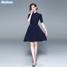 High Quality Elegant Solid Dress Women Half Sleeve Summer Style Waist Blue Dresses 2019 Spring Casual Ladies Vestidos
