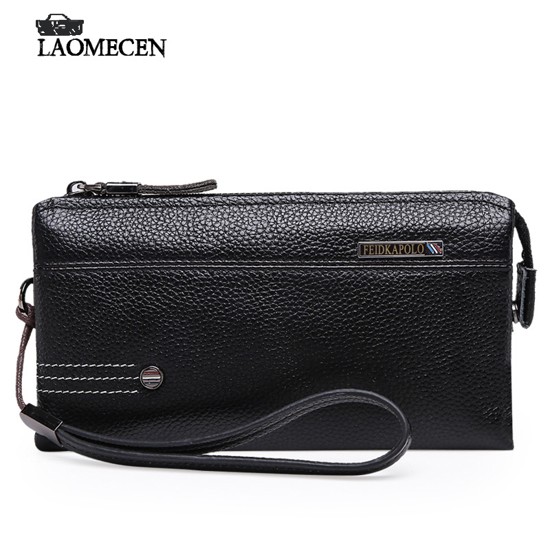 High Quality Brand Black Business Male Clutch bag Men Long Wallet Fashion Solid Genuine Leather Day Clutches bag Card Holder