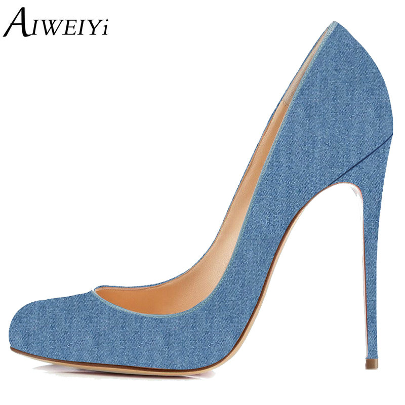 AIWEIYi Women Pumps Denim Stiletto Shoes Round toe 12cm Platform Pumps Slip On Dress Party Shoes High Heel Shoes Woman fashion ultra high heel dress shoes women stiletto heel platform round toe pure black can match any situation