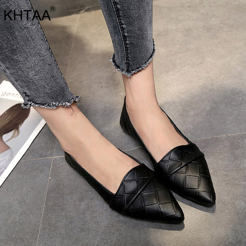 2019 Spring Woman Pointed Toe Shoes Casual Slip On Flats Classic Female Checkered PU Leather Loafers Weave Ladies Shoes