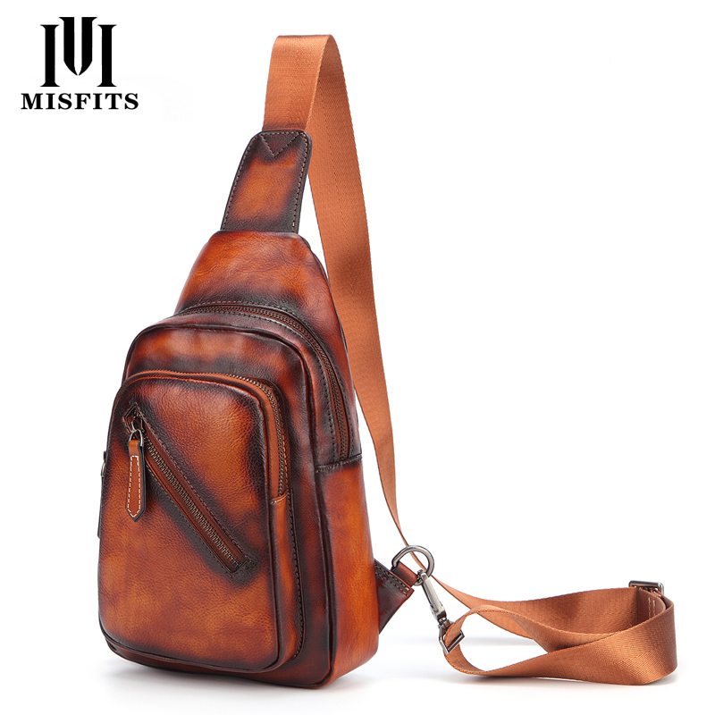 Men 's Cowhide F Chest Bags Genuine Leather Single Shoulder Pack High Quality Cross Body Bag For Man