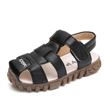 COZULMA Summer New Boys PU Leather Beach Sandals Classic Solid Color Anti-slip Children Slippers Baby Protect-Toe Toddler Shoes