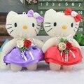 12 psc Color al azar dulce 12 CM diamante Hello Kitty juguete relleno felpa muñeca de juguete de felpa, ramo de la boda decoración de juguete de regalo de la muñeca