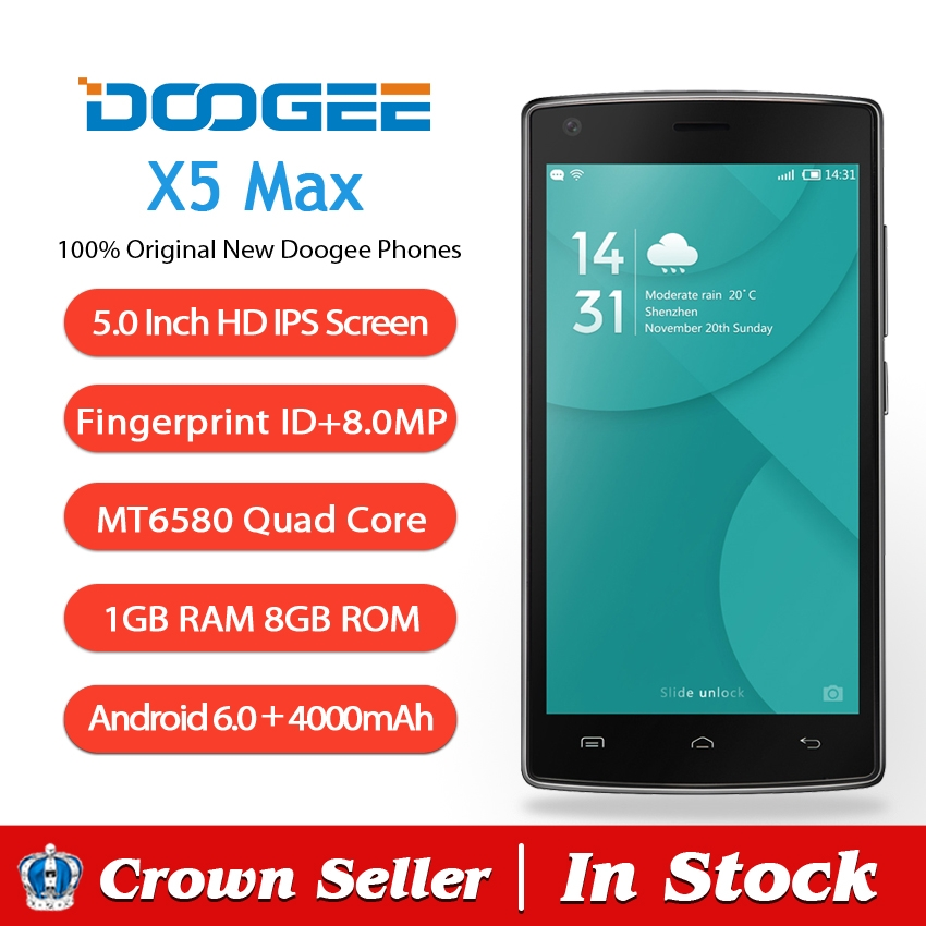Doogee X5 MAX Mobile Phone 5 Inch HD IPS MT6580 Quad Core Andriod 6.0 1GB RAM 8GB ROM 8MP Cam 3G Fingerprint ID 4000mAh Battery