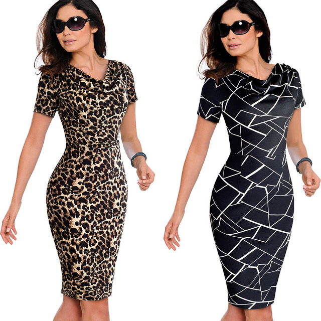 Nice-forever Women Vintage Wear to Work Elegant vestidos Business Party Bodycon Sheath  Office Ruffle Female Dress B452 3