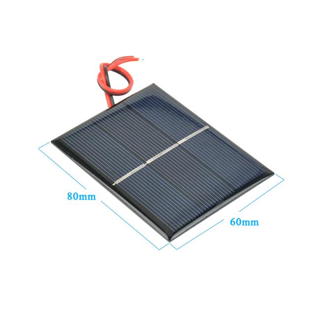 Aoshike 2Pcs Solar Panels DIY Flexible Solar Panel Energy Epoxy Plate With Wires 0.65W 1.5V 60x80x3MM Panneau Solaire