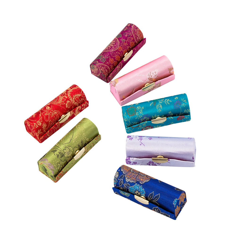 1Pcs Retro Flower Embroidery Fabric Lipstick Case Holder With Mirror Women's Cosmetic Jewelry Packaging Box Storage Boxes & Bins