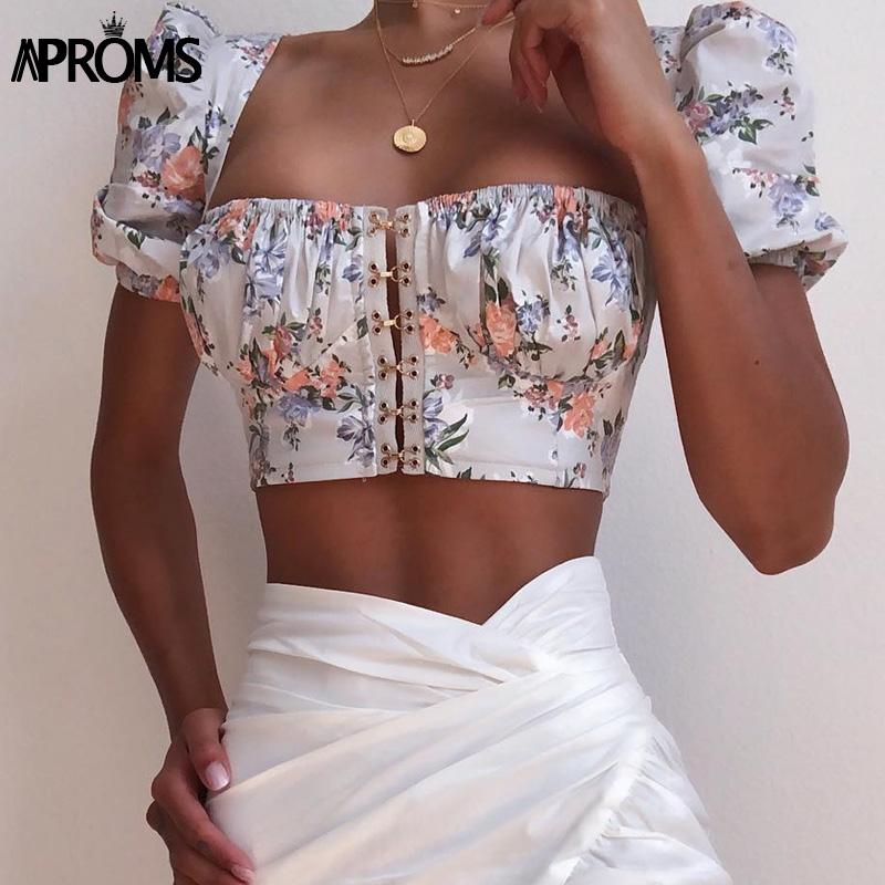 Aproms Vintage Square Neck   Tank     Tops   Wmen Sexy Blue Floral Print Button Cami 90s Cool Girls Streetwear Slim Tees Camisole 2019