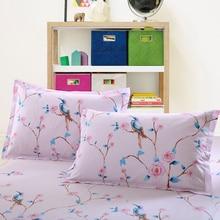 100% Algodón rosa Lavanda Funda de Almohada de Flores y pájaros 2 Unids Hogar Un Par Diagonal Impresión Breve Estilo fundas de almohadas 48×74 cm