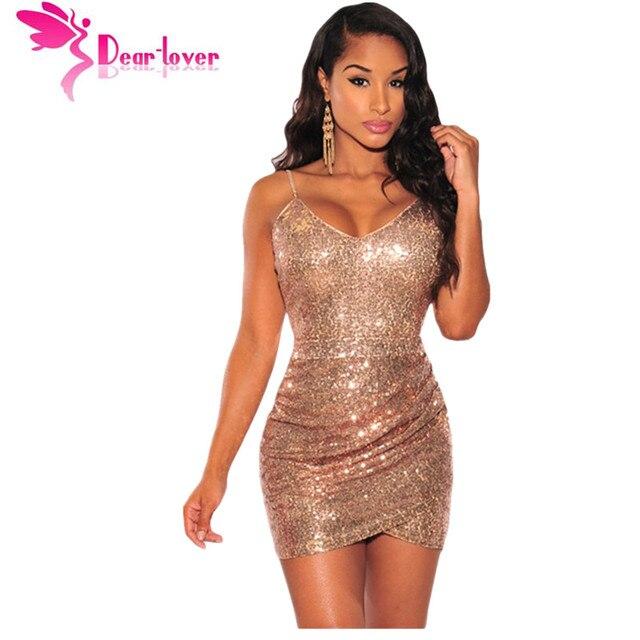 7340629ccf8 Dear Lover party sexy strap v neck Rose Gold Sequin Ruched Club Dress mini bodycon  vestidos