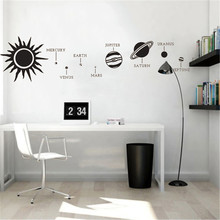 Solar System Earth Mars Planet Space Wall Sticker Vinyl Art Removable Poster Mural Beauty Modern Ornament LY1402