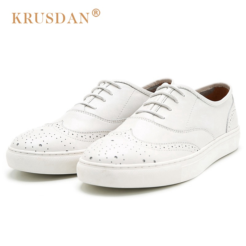 KRUSDAN Whitle British Style Flat Platform Man Brogue Shoes Genuine Leather Male Oxfords Round Toe Men's Handmade Footwear NK69