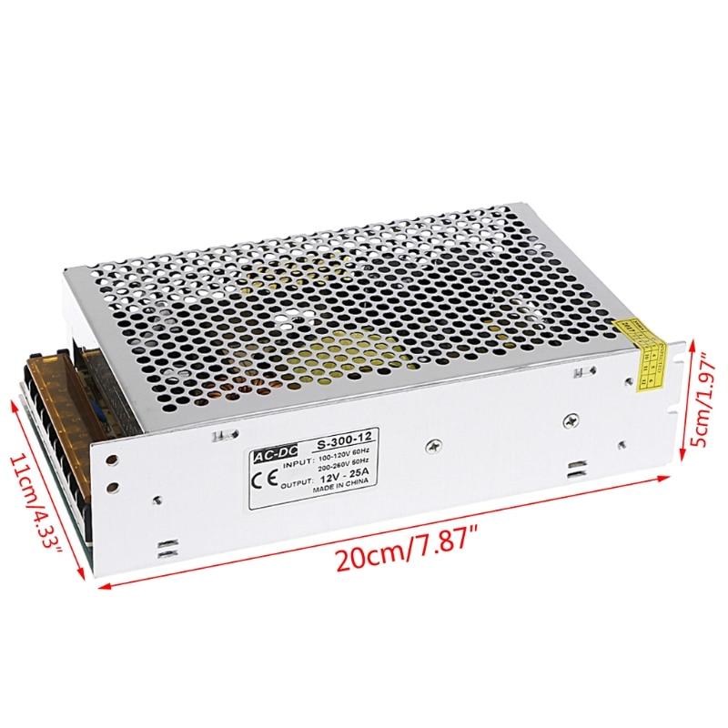 AC 100-260V To DC 12V 25A 300W Switch Power Supply Driver Adapter LED Strip Light W315 new ac to dc 12v 25a 300w switch power supply driver adapter for led strip