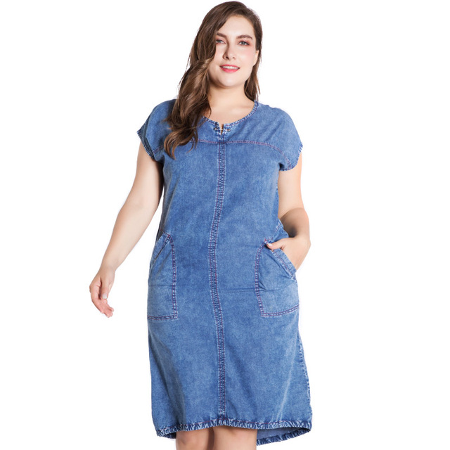 Summer ladies Plus Size denim dress for women clothes Round Neck Pockets elegant  4xl 5xl 6xl Large Size party Dress 3
