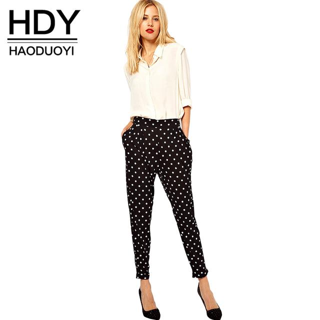 Hdy haoduoyi negro ocasional de las mujeres pantalones lápiz delgado sexy blanco Dot Legging Básica Femenina Breve Estilo de la Calle del Otoño Largo Básico pantalones
