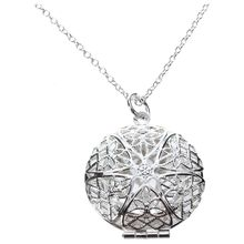 Womens Silver Hollow Flower Photo Frame Charms Pendant Chain Necklace Jewelry