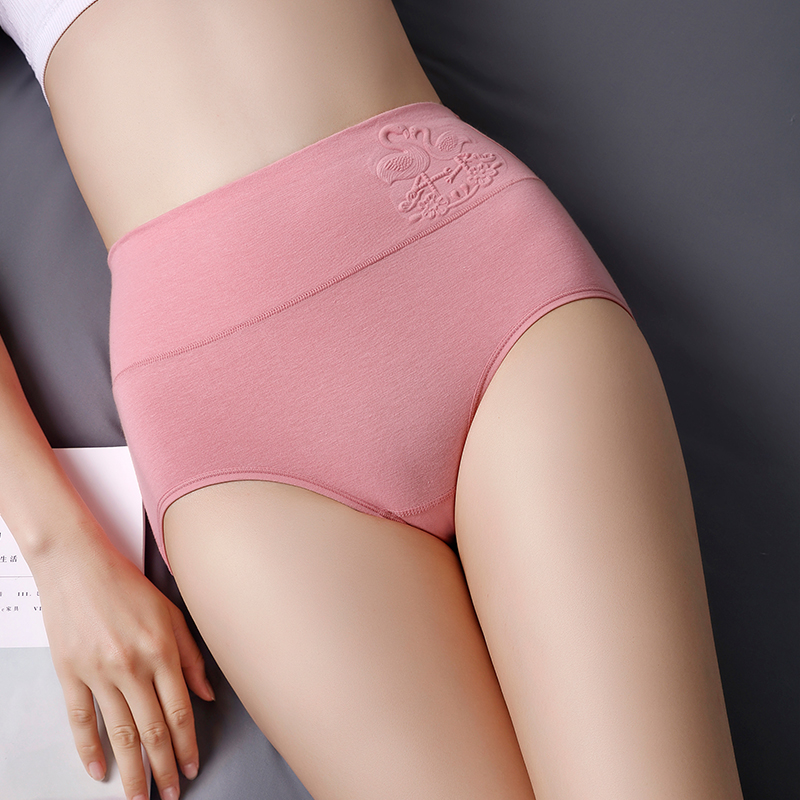Women Underwear High Rise Cotton Embossed Swan Solid Color Briefs High Waist Women Panties