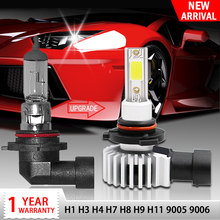 Racbox Car Headlight Bulb LED H7 H1 H3 H4 H11 H8 COB Chip Mini Auto Turbo Super Lamp 3000K 6000K 10000K Hb4 Hb3 9005 9006(China)
