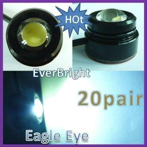 20 pair 1.5W  White Eagle Eye Car Back Up Reverse Tail Light Lamp Bulbs for Anywhere Daytime Running light
