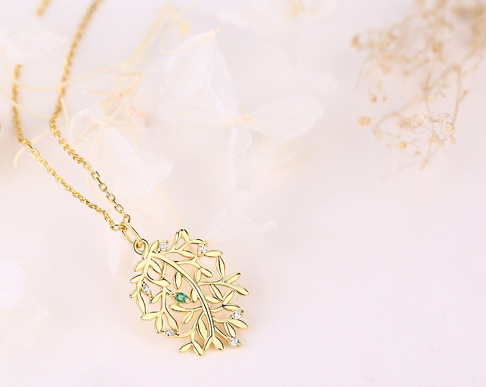 ALLNOEL Luxury Natural Emerald Pendant Real 925 Sterling Silver Leaf Necklaces For Women Link Chain Jewelry Engagement Gift New  (6)