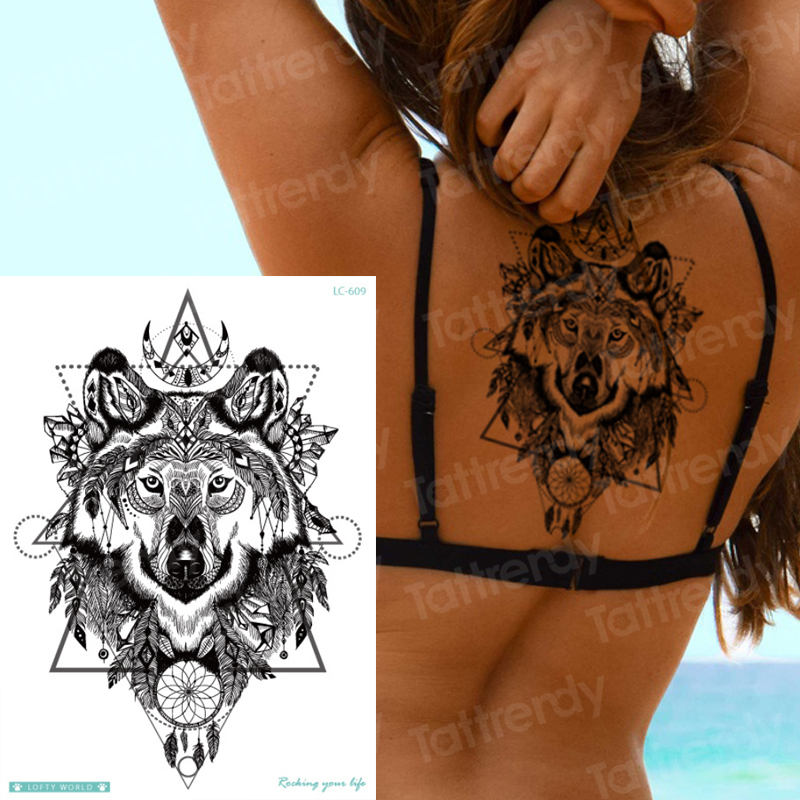 Wolf Tattoo Designs Big Sexy Tatoo For Woman Temporary Body Tattoo Back Black Fake Tatoo Large Waterproof Wolf Temporary Tattoos