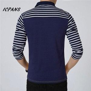 Image 3 - ICPANS الرجال قميص بولو مخطط طويل الأكمام قمصان بولو الرجال سليم صالح حجم كبير 5XL 2018 Hot البيع ربيع الخريف قمصان بولو للرجال