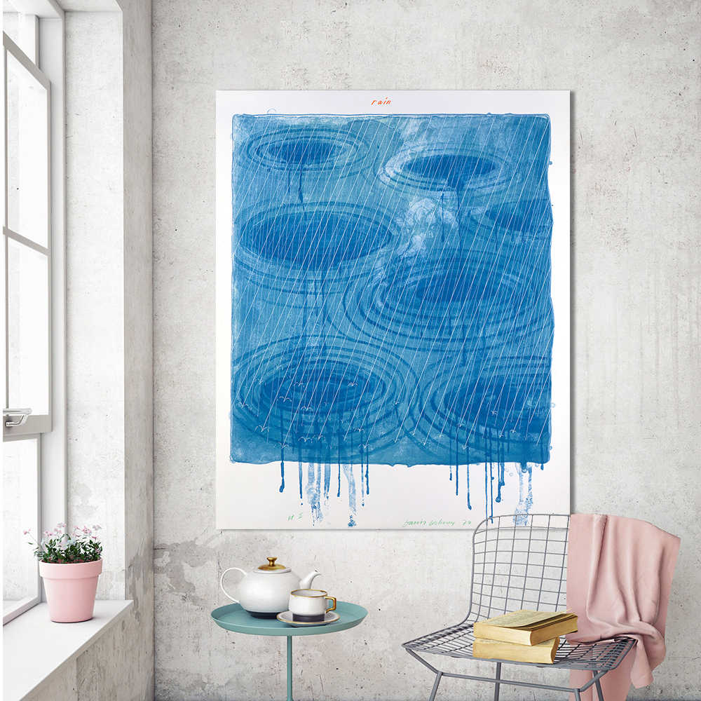 WANGART Watercolor Wall Canvas Art Painting Abstract David Hockney Raining Picture Wall Home Decor Print For Living Room Unframe