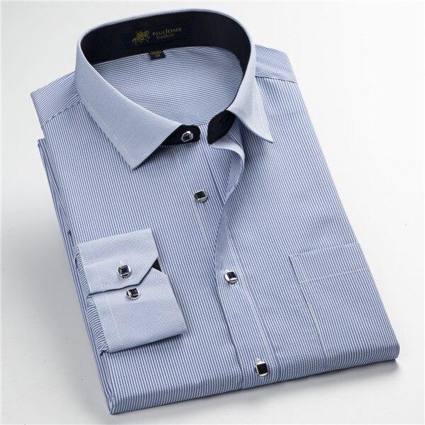 Pauljones 57xx дешевый воротник дизайн с длинными рукавами для мужчин s полосатые рубашки Повседневное платье Мужская рубашка в клетку Высококачественная Мужская одежда - Цвет: 5748