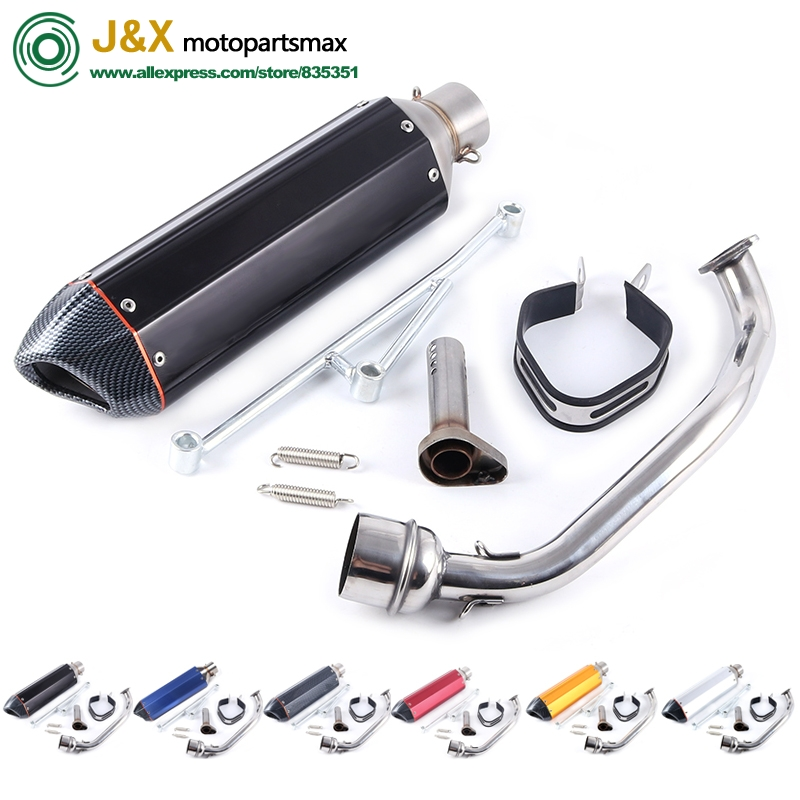 Motorcycle Scooter Full <font><b>system</b></font> GY6 125cc <font><b>150cc</b></font> contact middle pipe muffler <font><b>exhaust</b></font> fit 157qmj 152qmi 4 Stroke engine slip on image
