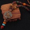 Moda collar étnico de evadir, piedras de la naturaleza de la vendimia placa redonda joyería de Nepal, hecha a mano sanwood bodhi cuentas de collar de la vendimia