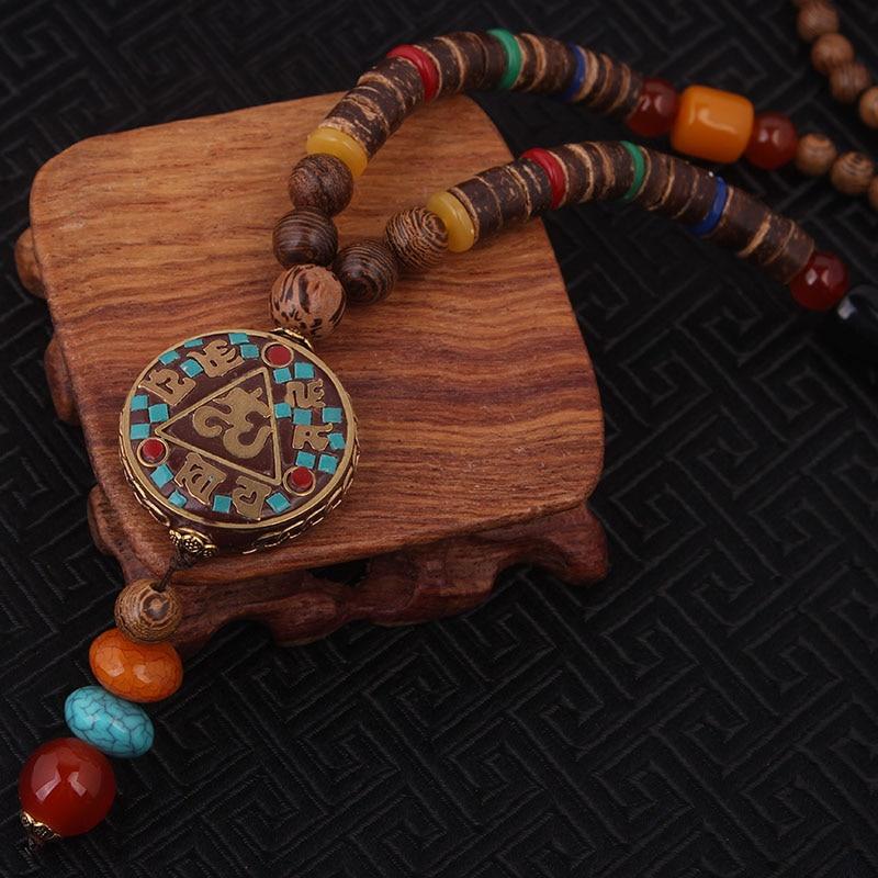 Prix pour Mode échapper ethnique collier, nature pierres vintage plaque ronde Népal bijoux, main sanwood bodhi perles vintage collier