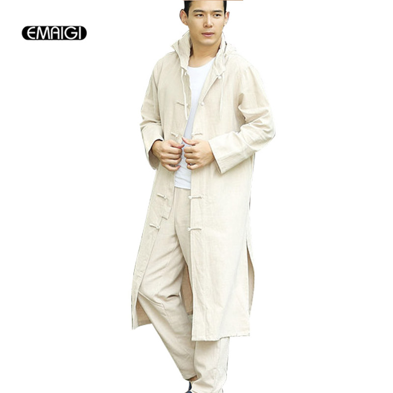 China Style Men Kongfu Hooded Trench Jacket Men women Cotton Linen Cardigan Loose Casual Long Trench